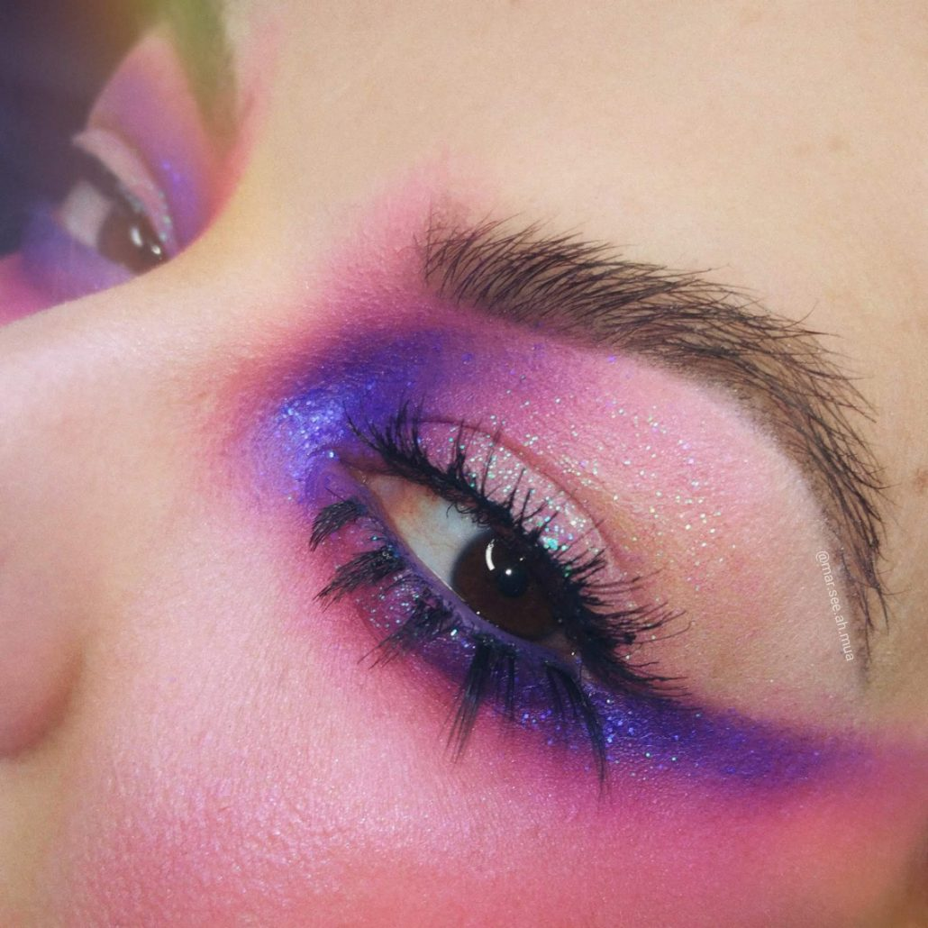 blue pink and lilac eye makeup